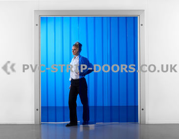 200x2mm Transparent Blue PVC Strip Curtain