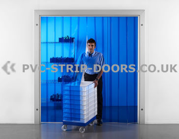 300x3mm Transparent Blue PVC Strip Curtain