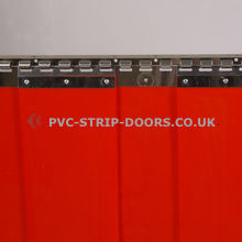 Welding red PVC curtains
