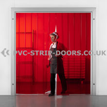 400x4mm Transparent Red PVC Strip Curtain